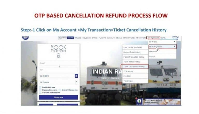 Indian railways otp based refund process